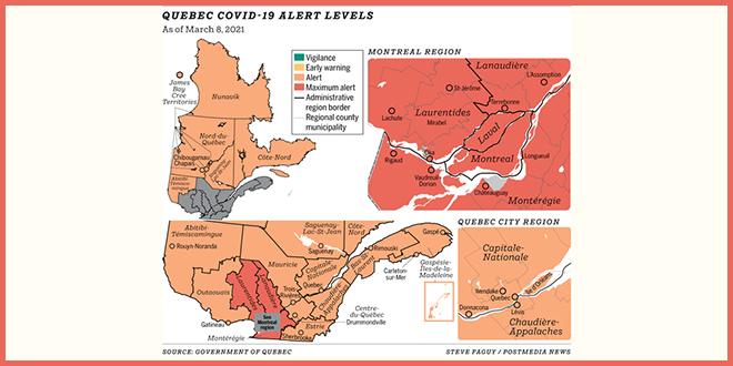 Большой Монреаль останется «красным», а остальной Квебек станет оранжевой зоной
